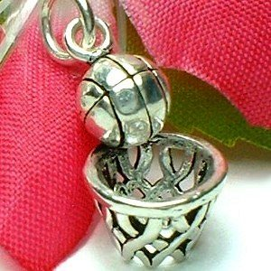 925 STERLING SILVER BASKETBALL ON BASKET CHARM / PENDANT