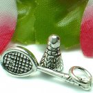 925 STERLING SILVER BADMINTON RACKET WITH BIRDIE CHARM / PENDANT