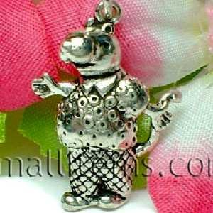 925 STERLING SILVER FATHER HIPPOPOTAMUS CHARM / PENDANT