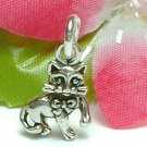 925 STERLING SILVER KITTY CAT WITH BOW CHARM / PENDANT