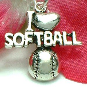 925 STERLING SILVER I LOVE SOFTBALL CHARM / PENDANT