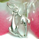 925 STERLING SILVER TWO DOLPHINS CHARM / PENDANT