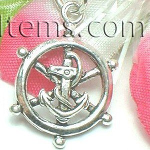 925 STERLING SILVER ANCHOR AND HELM WHEEL CHARM PENDANT