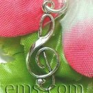 925 STERLING SILVER TREBLE CLEF NOTE CHARM PENDANT
