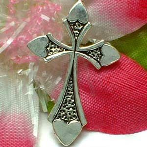 925 STERLING SILVER CROSS WITH HEART CHARM / PENDANT