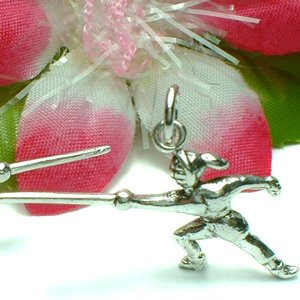925 STERLING SILVER FEMALE FENCING FENCER CHARM PENDANT