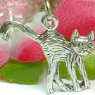925 STERLING SILVER CAT WITH RAISE TAIL CHARM / PENDANT