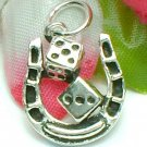 925 STERLING SILVER HORSESHOE WITH DICE CHARM / PENDANT