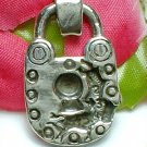925 STERLING SILVER OLD NUMBERED PADLOCK CHARM PENDANT