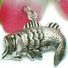 925 STERLING SILVER LARGE MOUTH BASS FISH CHARM / PENDANT