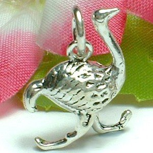 925 STERLING SILVER OSTRICH RUNNING CHARM / PENDANT
