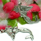 STERLING SILVER MERMAID WITH FLOWERS CHARM / PENDANT