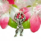 925 STERLING SILVER MUSCLE MAN BODYBUILDER CHARM PENDAN
