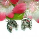 STERLING SILVER HORSE AND HORSESHOE CHARM / PENDANT #2