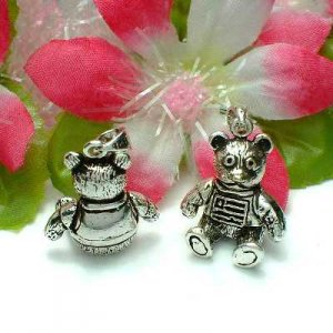 925 STERLING SILVER TEDDY BEAR (MOVES) CHARM / PENDANT