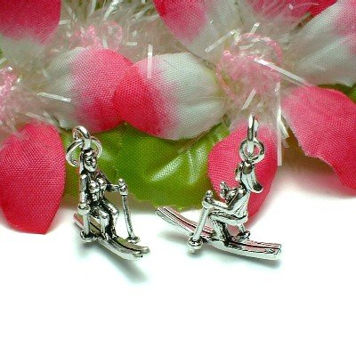 STERLING SILVER SNOW SKIING FEMALE SKIER CHARM PENDANT