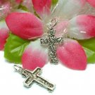925 STERLING SILVER CROSS WITH LEAVES CHARM PENDANT