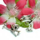 STERLING SILVER DOUBLE DOLPHIN OVER RING CHARM PENDANT