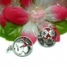 925 STERLING SILVER OPEN CIRCLE OF FLOWER CHARM PENDANT