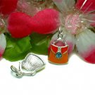 STERLING SILVER ENAMEL PURSE HANDBAG W/CZ CHARM #7OR
