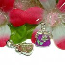 STERLING SILVER PURPLE ENAMEL PURSE W/CZ CHARM PENDANT