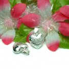 STERLING SILVER PUFFED LOVE HEART W FLOWER CHARM PENDAN