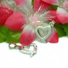 925 STERLING SILVER CANCER RIBBON HEART CHARM / PENDANT