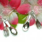 925 STERLING SILVER 1+INCH FORK & SPOON CHARM / PENDANT