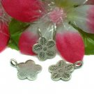THAI KAREN SILVER HANDMADE LEAF ON FLOWER CHARM PENDANT