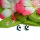 925 STERLING SILVER MOON AND STAR ENAMEL STUD EARRINGS