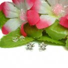 925 STERLING SILVER FLOWER WITH CZ STUD EARRINGS