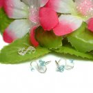 925 STERLING SILVER AQUAMARINE CZ STUD EARRINGS