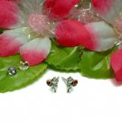 STERLING SILVER TEDDY BEAR WITH RUBY CZ STUD EARRINGS