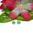 925 STERLING SILVER GREEN ENAMEL BUTTERFLY STUD EARRING