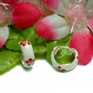 925 STERLING SILVER HIBISCUS / ROSEMALLOW HOOP EARRINGS