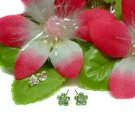 925 STERLING SILVER DAISY PERIDOT CZ STUD EARRINGS #60