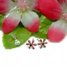 925 STERLING SILVER DAISY PURPLE ENAMEL STUD EARRINGS