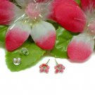 925 STERLING SILVER DAISY CZ PINK ENAMEL STUD EARRINGS