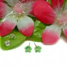 925 STERLING SILVER DAISY CZ GREEN ENAMEL STUD EARRINGS