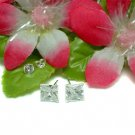 STERLING SILVER 7MM PRINCESS CUT CUBIC ZIRCONIA EARRING