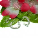 925 STERLING SILVER CUBIC ZIRCONIA LOOP POST EARRINGS