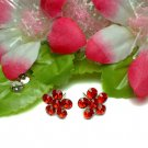 925 STERLING SILVER DAISY GARNET CZ STUD EARRINGS