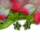 925 STERLING SILVER DAISY PERIDOT CZ STUD EARRINGS #22