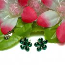 STERLING SILVER DAISY GREEN CUBIC ZIRCON STUD EARRINGS