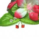 925 STERLING SILVER SQUARE GARNET CZ 4MM STUD EARRINGS
