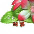 925 STERLING SILVER GARNET CUBIC ZIRCONIA STUD EARRINGS