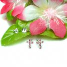 925 STERLING SILVER CROSS PINK CZ STUD EARRINGS