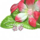 925 STERLING SILVER PINK CUBIC ZIRCONIA HOOK EARRINGS