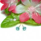 STERLING SILVER ROUND AQUAMARINE CZ 5MM STUD EARRINGS