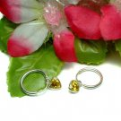 STERLING SILVER YELLOW CZ DANGLING HEART HOOP EARRINGS